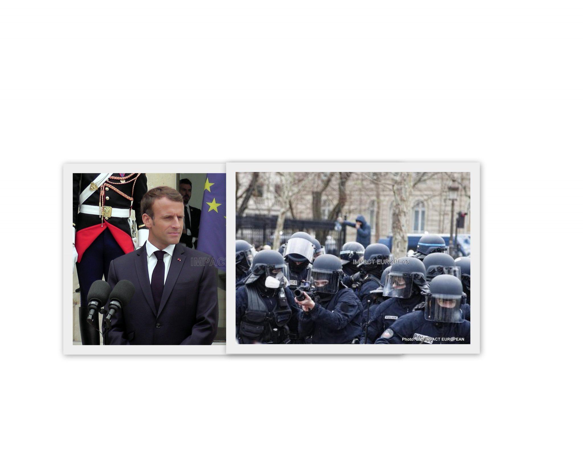 """Macron défend l'usage LBD: """"Je ne laisserai pas les forces de l'ordre sans aucun moyen (…) face à des gens qui arrivent aujourd'hui armés"""""""