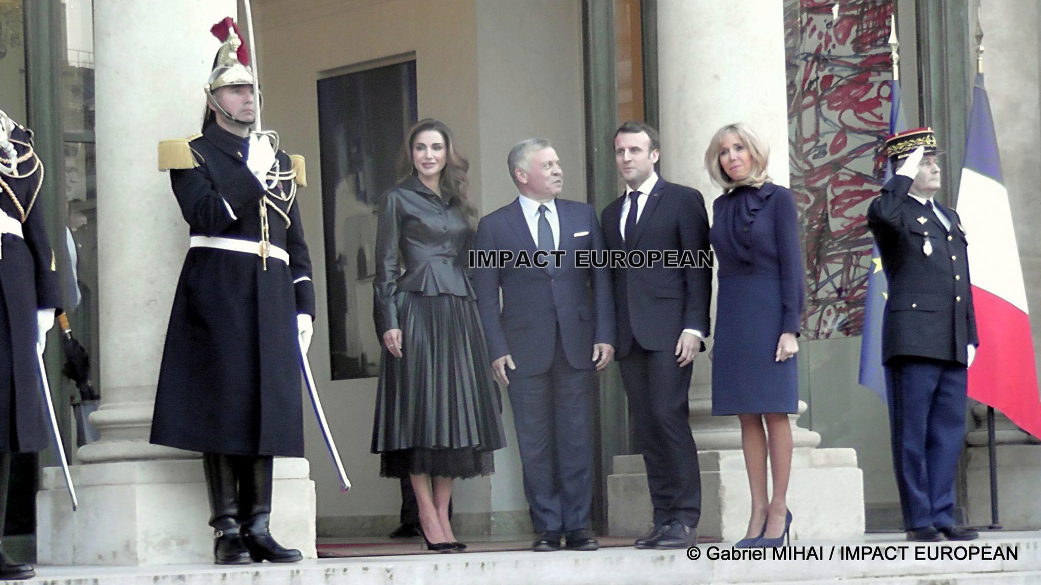 Emmanuel et Brigitte Macron ont reçu à l'Elysée le roi Abdallah II et Rania de Jordanie dans le cadre d'une tournée pendant cinq jours